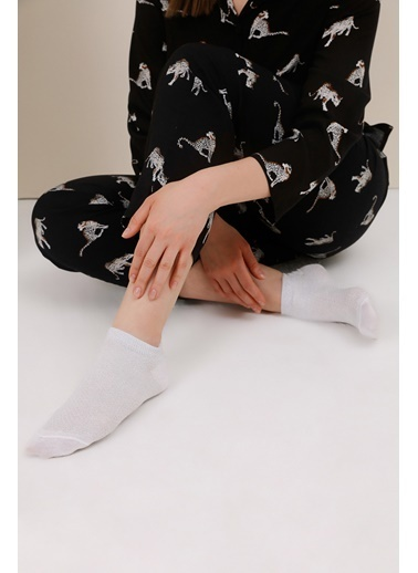 Gusto Simli Bilekte Çorap - Mint Simli Bilekte Çorap - Mint Beyaz